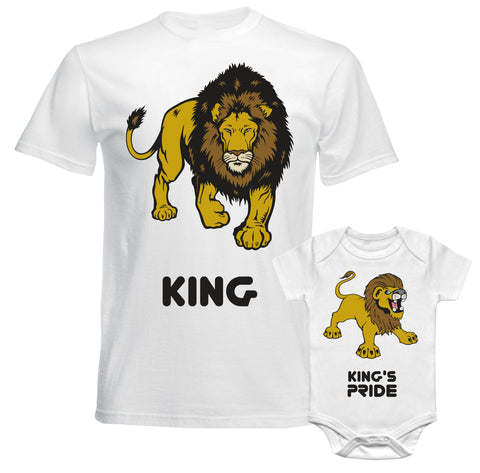 Father Daddy Daughter Dad Son Matching T shirts King Lion & King's Pride