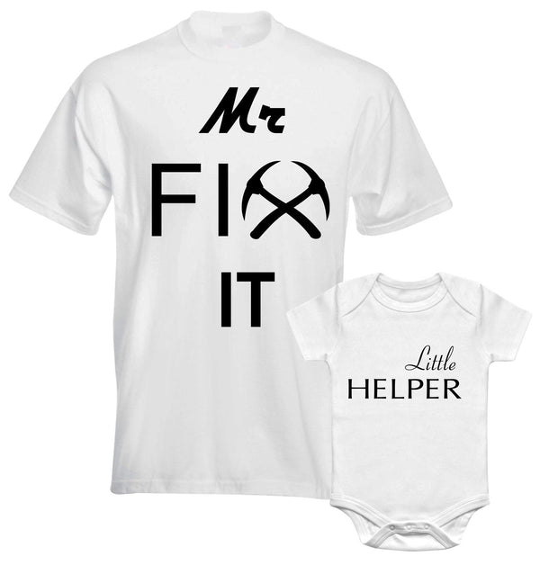 Father Daddy Daughter Dad Son Matching T shirts Pair Mr Fix It Little Helper
