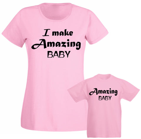 I make Amazing Baby Funny Slogan Mum Mummy Mothers Day Family Matching T shirt