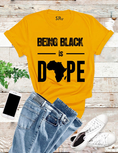 Being-Black-is-Dope-T-Shirt-Gold