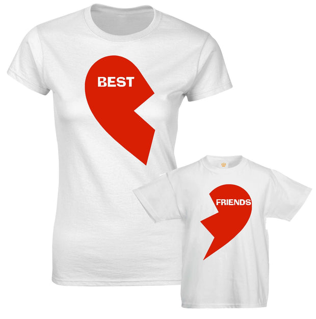 Best Friend Red Hearts Mothers Mum Son Daughter Kids Family Matching T shirts