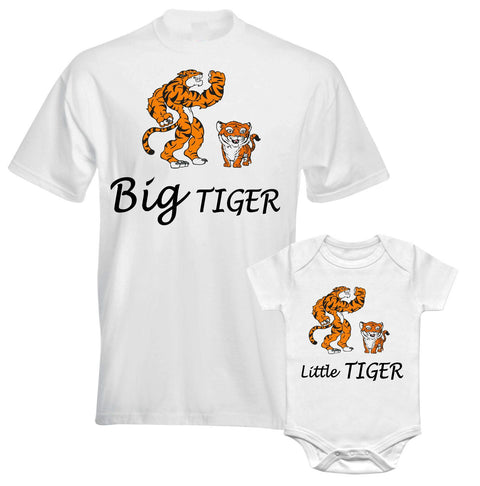 Father Daddy Daughter Dad Son Matching T shirts Big Little Tiger