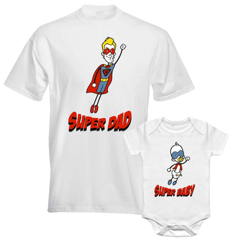 Father Daddy Daughter Dad Son Matching T shirts Bodysuit Super Hero Dad Baby