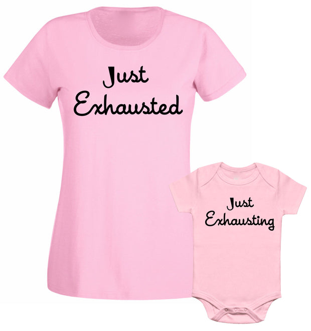 Just Exhausted Just Exhausting Mum Mummy Son Daughter Matching T shirt