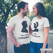 Matching Couple T Shirts Her Prince Charming His Cinderella Tees