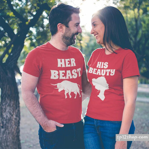 Matching Couples T Shirts His Beauty Her Beast King Queen Outfits