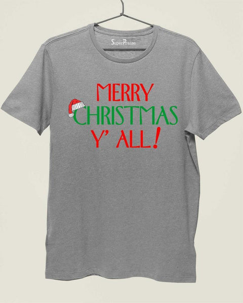 Christian T Shirt Merry Christmas Y' All Holiday