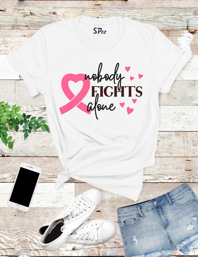 Nobody-fights-Alone-Breast-Cancer-T-Shirt-White