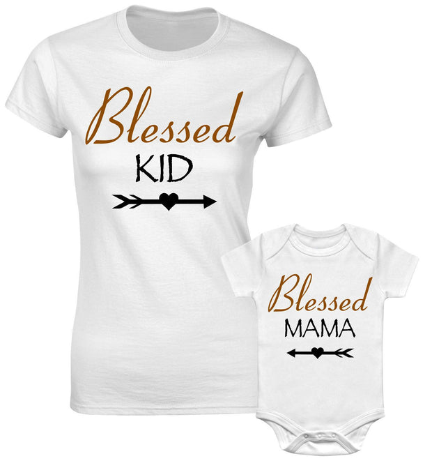 Blessed Kid Blessed Mama Mum Son Daughter Family Matching T shirts