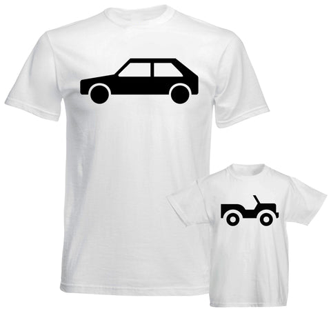 Father Daddy Daughter Dad Son Matching T shirts Pair Big Car Little Toy Car