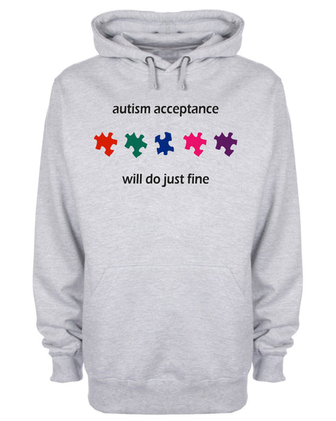 Autism Acceptance Will Do Just Fine Puzzle Hoodie