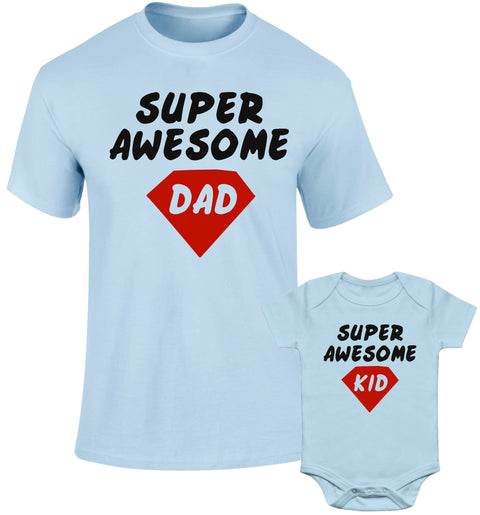Father Daddy Daughter Dad Son Matching T shirts Super Awesome Dad Kid