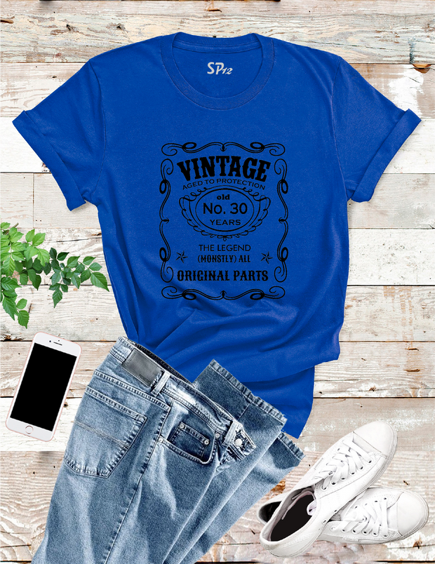 Vintage Aged To Perfection 30th Birthday Tshirt