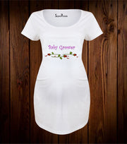 Baby Grower Flower Maternity T Shirt