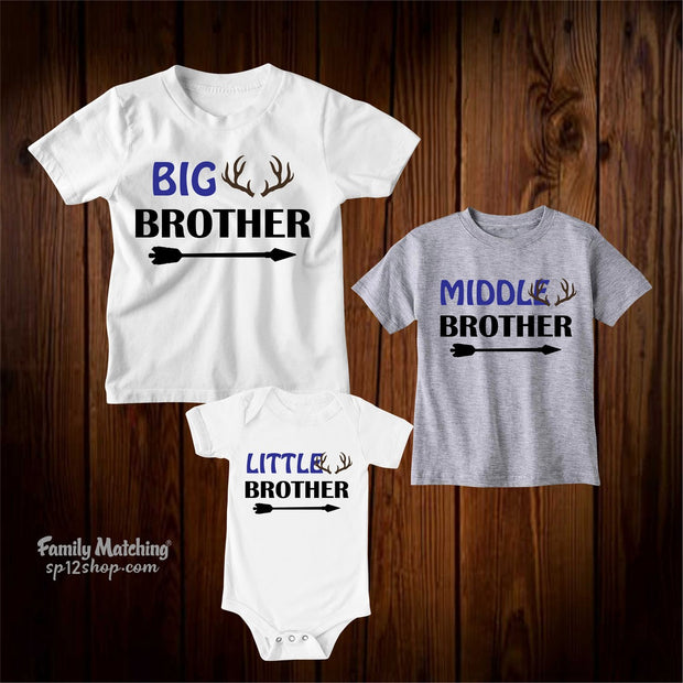 Big Middle And Little Brother Sibling Kids T Shirt