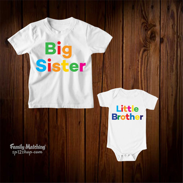 Big Sister And Little Brother Outfits Matching Family T-Shirt