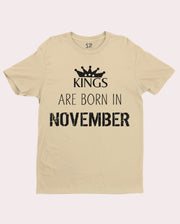Birthday T Shirt Kings are born in November