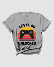 Birthday T Shirt Level 40 Unlock Forty Gamer Theme Birthday Gift Tee