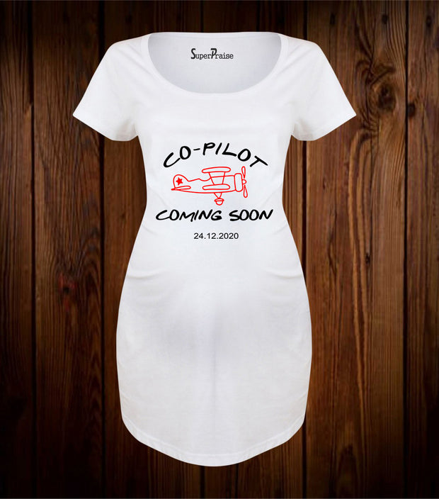 Custom Co-Pilot Coming Soon Maternity T Shirt