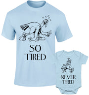 Father Daddy Daughter Dad Son Matching T shirts So Tired Never Tired Turkey