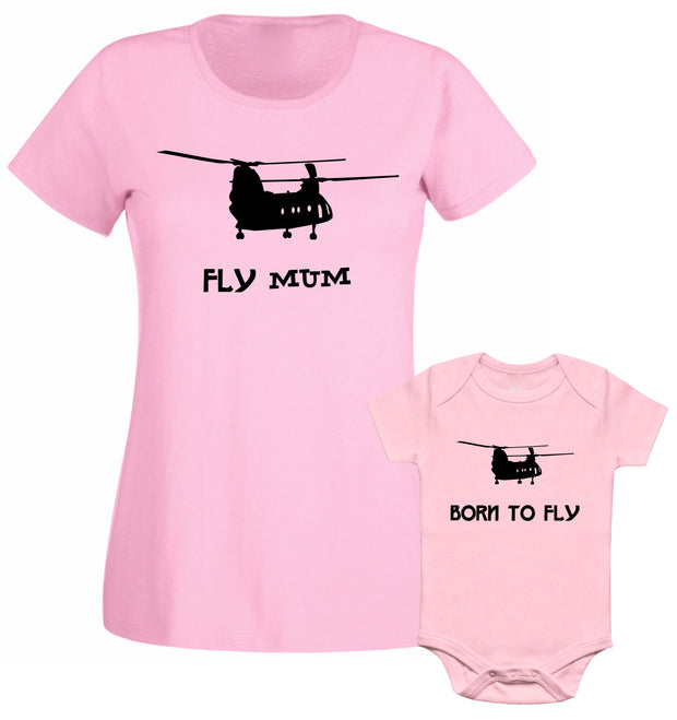 Flying Mum Born To Fly Helicopter Airplane Mummy Son Daughter Matching T shirt