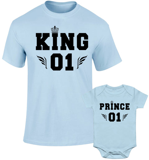 Father Daddy Daughter Dad Son Matching T shirts King Prince 01 Wing Crown