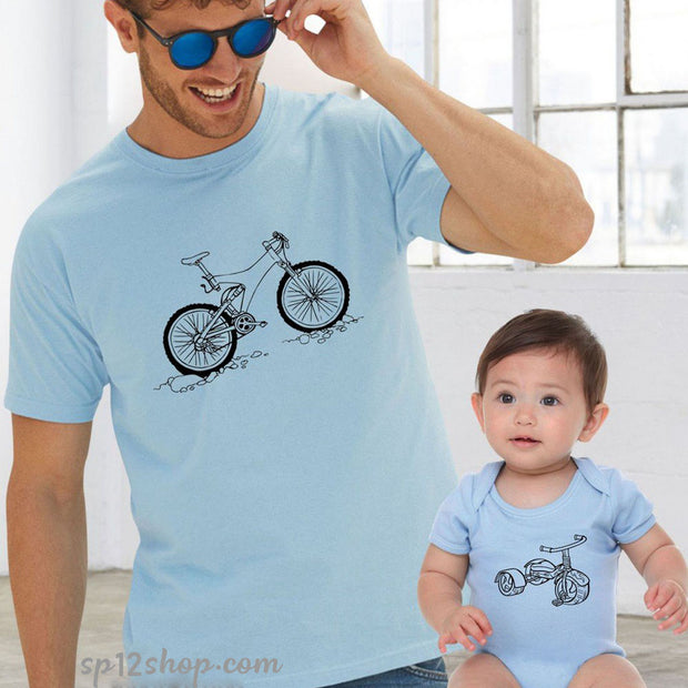 Father Daddy Daughter Dad Son Matching T shirts Bicycle Tricycle