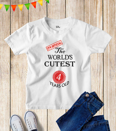 Four Years Old Kids Birthday T Shirt