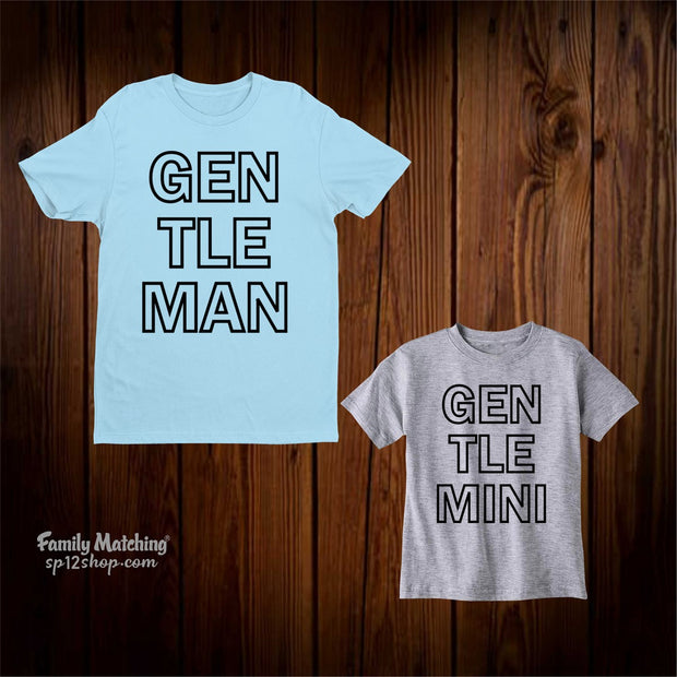 Gentle man and mini Matching Family T Shirts