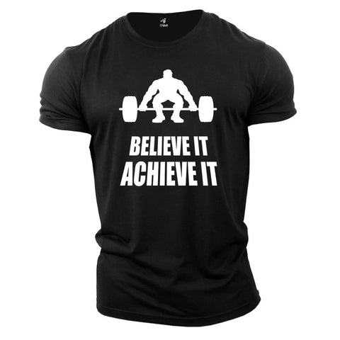 Gym Fitness Crossfit T shirt Believe It Achieve It Barbells