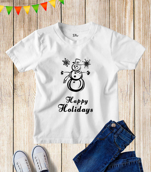 Happy Holidays Snowman Kids T Shirt