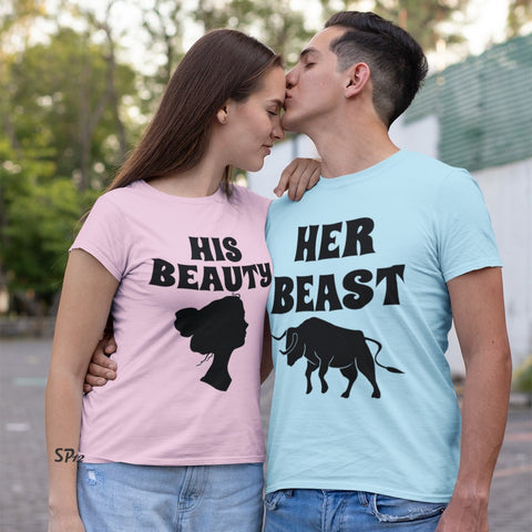 Her Beast His Beauty Couple T Shirt