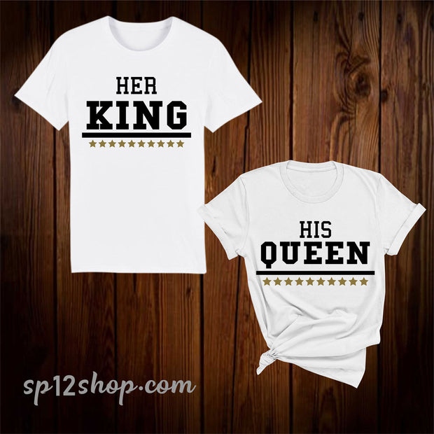 Her King His Queen Valentine Day Couple Matching T Shirt