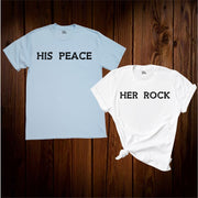 Her Rock & His Peace Couple T Shirt