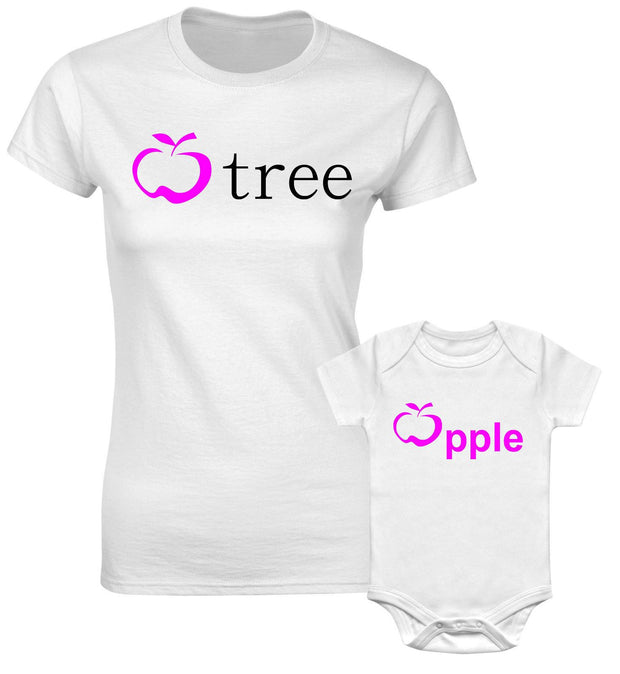 Apple Tree & Apple Fruit Mothers Mum Mummy Daughter Family Matching T shirt