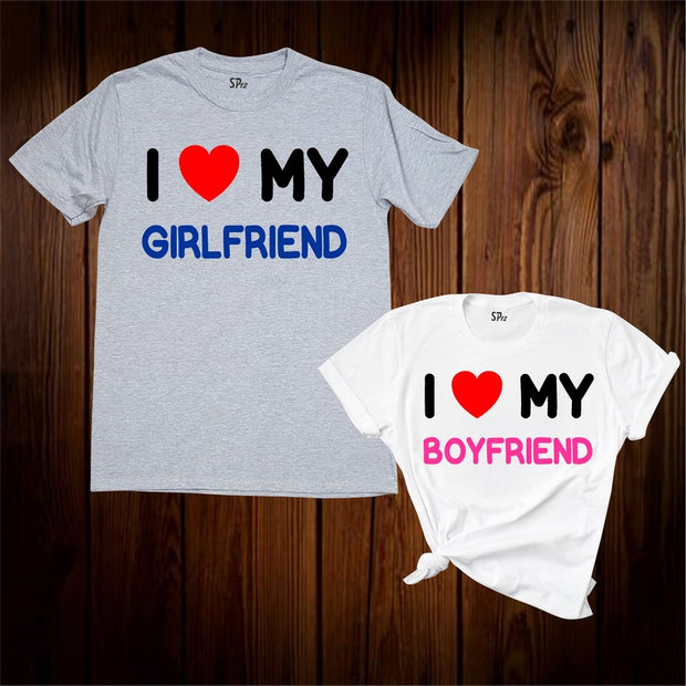 I Love My Boyfriend And Girlfriend Matching T Shirt