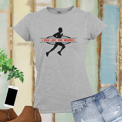 I Run Like The Wine Women Running T Shirts