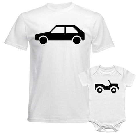 Father Daddy Daughter Dad Son Matching T shirts Baby Bodysuit Big Car Toy Car