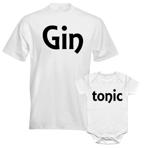 Gin And Tonic Father Daddy Daughter Dad Son Matching T shirts Baby Bodysuit