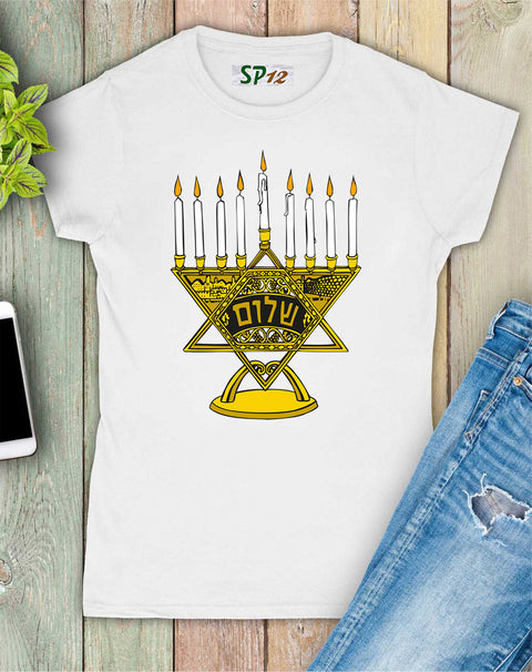 Menorah Graphic Women T Shirt
