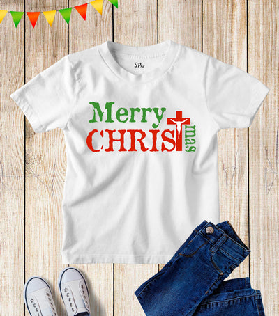 Merry Christmas Cross Kids T Shirt