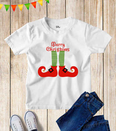 Merry Christmas Elf Legs Kids T Shirt