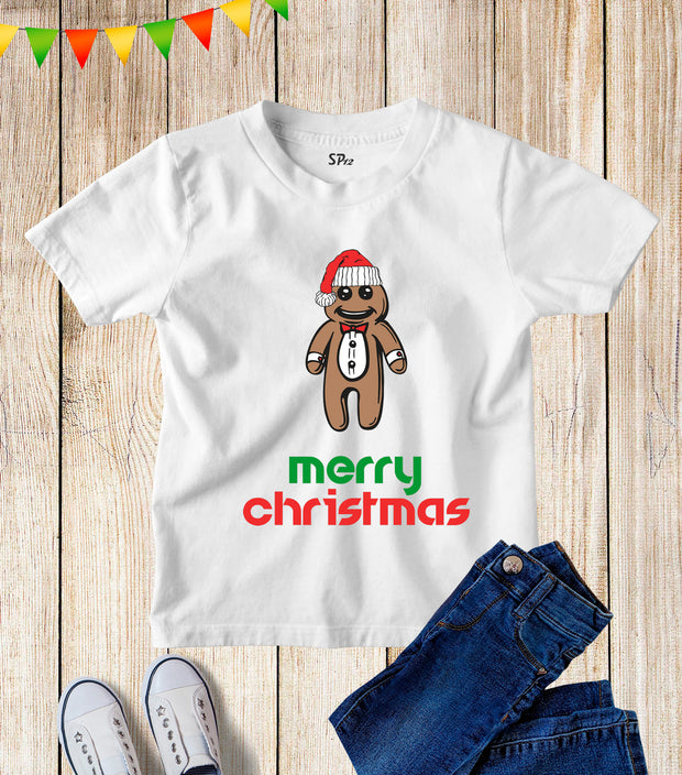 Merry Christmas Gingerbread Man Kids T Shirt