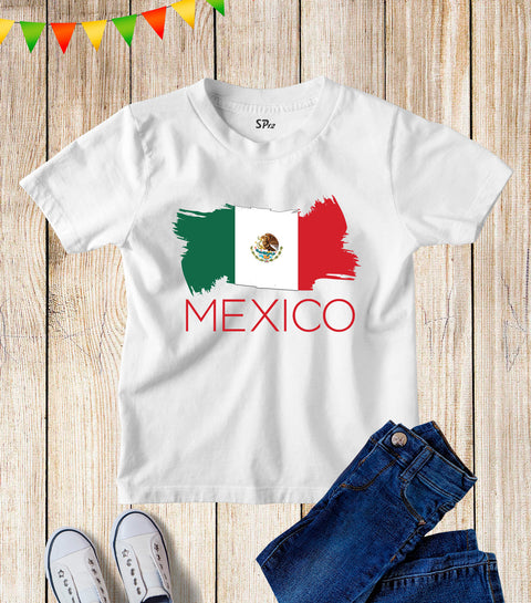 Kids Mexico Flag Football FIFA World Cup T Shirt Tee