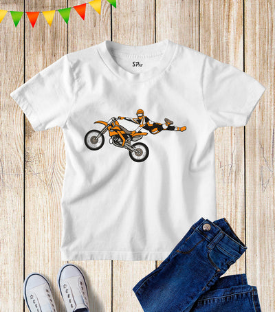 Motorcycle Stunt Kids T Shirt
