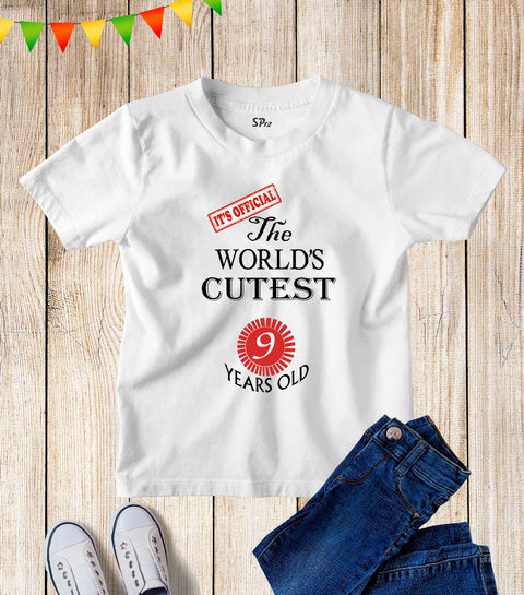 Nine Years Old Kids Birthday T Shirt
