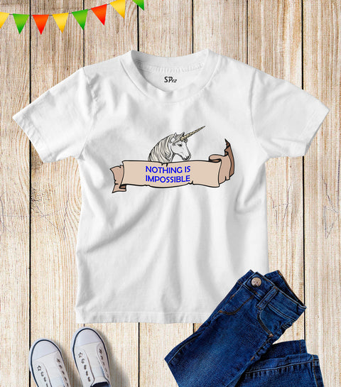 Kids Nothing Impossible Unicorn Slogan T Shirt