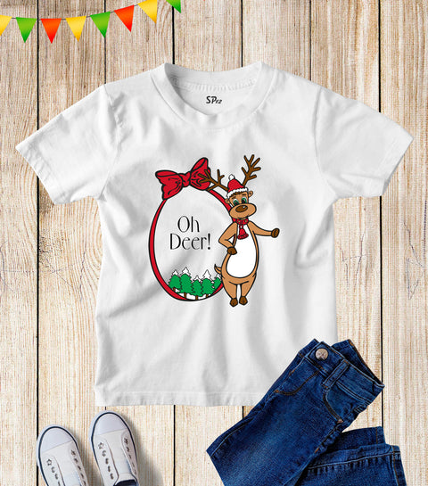 Oh Deer Christmas Kids T Shirt