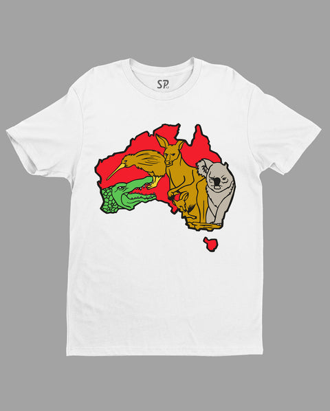 Patriotic T Shirt Australia Map Animal Safari kangaroo T-shirt