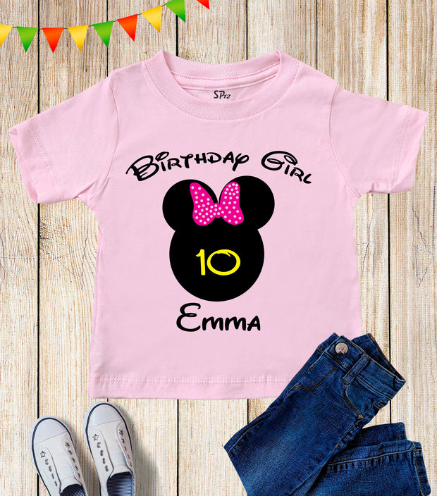 Personalsed Birthday Boy And Girl Kids T Shirt Mouse Ear Shirt